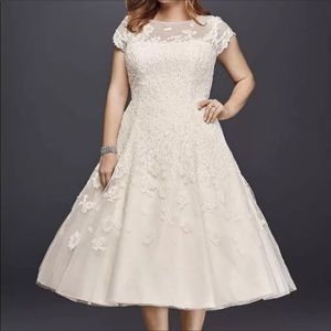 Oleg Cassini Cap Sleeve Tea Length Wedding Gown